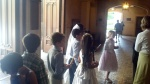 First communion class getting ready to enter